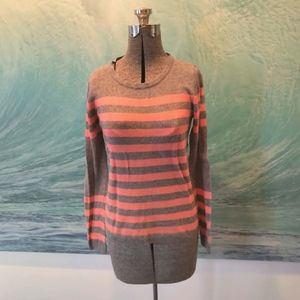 Pink and grey striped sweater